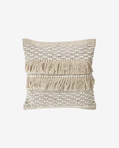 Funda cojín Malvina 100% algodón flecos beige 45 x 45 cm