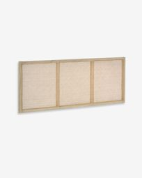 Rexit solid mindi wood and veneer headboard with rattan 163 x 65 cm