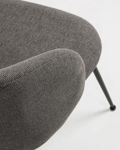 Silla Minna gris oscuro y patas de acero con acabado negro