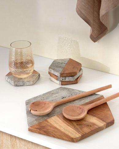 Tabla de servir Sinai de madera y piedra