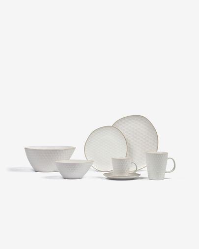 Taza de café con plato Manami de cerámica blanco