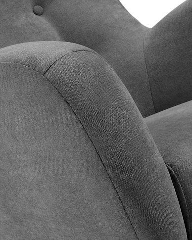 Patio armchair in dark grey with solid natural oak legs