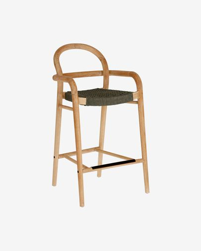 Sheryl stool made from solid eucalyptus and green cord 69 cm FSC 100%