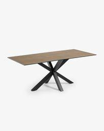 Argo Tisch 200 cm, Porzellan, Eisen Rost Finish, mit schwarzen Tischbeinen
