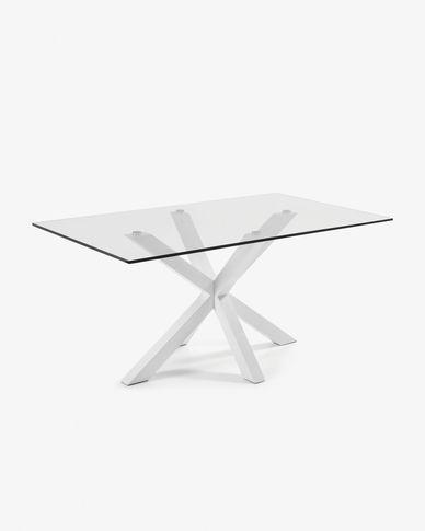 Argo tafel 160 cm glas wit benen