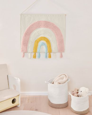 Thaide 100% organic cotton wall tapestry with multicolour rainbow 60 x 52 cm