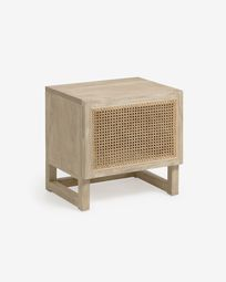 Rexit solid mindi wood and veneer bedside table with rattan 50 x 48 cm