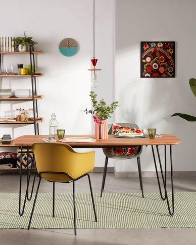 Barcli Tisch 200 x 95 cm aus massivem Akazienholz und schwarzen Stahlbeinen