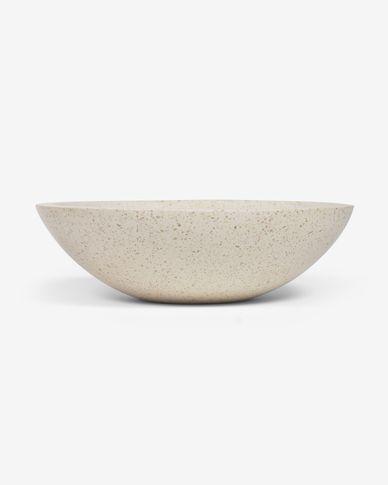 Kuveni Aufsatzwaschbecken aus Terrazo weiß Ø 40 cm