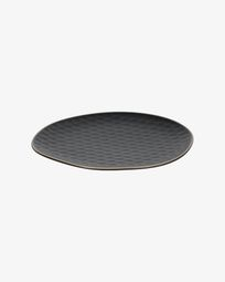 Manami flat ceramic plate in black