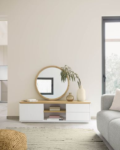 Meuble TV Abilen contreplaqué de chêne et laqué en blanc 150 x 44 cm FSC 100%
