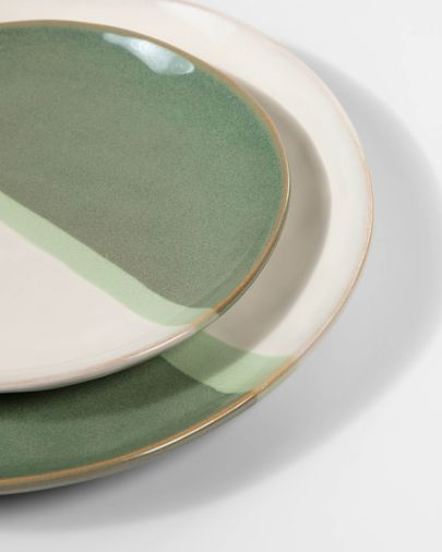 Plat pla Naara de ceràmica blanc i verd