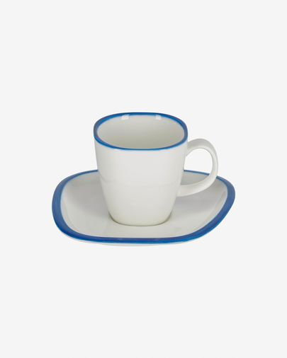 Porseleinen kop en schotel Odalin in blauw en wit
