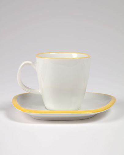 Porseleinen kop en schotel Odalin in geel en wit