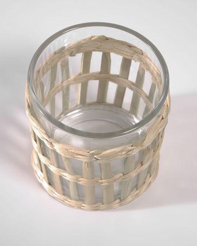 Vaso Emelia cristal transparente y fibra marrón