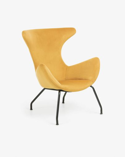 Fauteuil Chleo mosterd fluweel