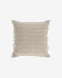 Ailen beige cotton and linen cushion cover with fringe 45 x 45 cm