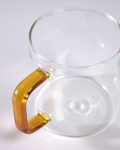 Chávena Coralie vidro transparente e laranja