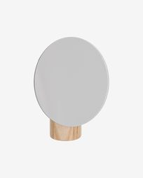 Veida mirror with natural wooden stand