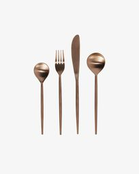 Kelda rounded handle 16-piece coppery cutlery set