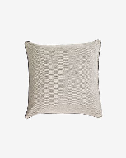 Celmira 100% cotton cushion cover in grey with grey embroidery 45 x 45 cm