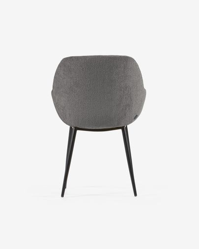 Konna chair in dark grey chenille with steel legs and painted black finish