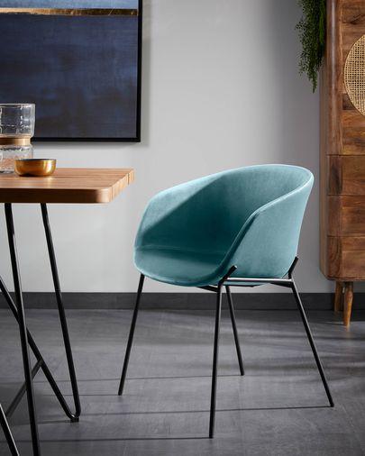 Cadira Yvette vellut turquesa