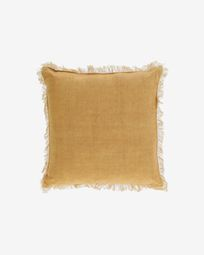 Poszewka na poduszkę Almira bawełna i len musztardowa frędzle 45 x 45 cm