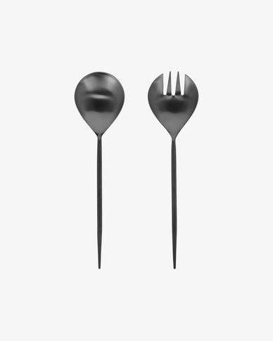 Fer 2-piece cutlery set for salad black