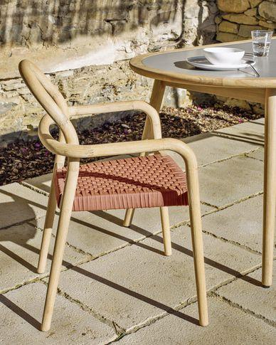 Sheryl stoel gemaakt van massief eucalyptus en terracotta koord FSC 100%