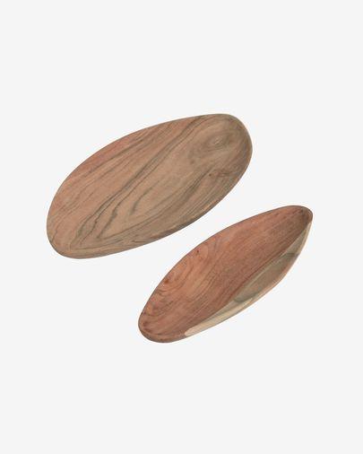 Ursula set of 2 solid acacia wood trays