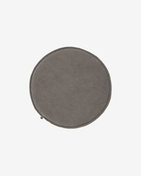 Sora round corduroy chair cushion in grey, 35 cm
