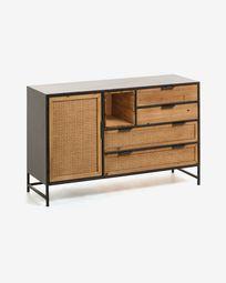 Aparador Kyoko 120 x 75 cm madeira maciça de cedro e ratã